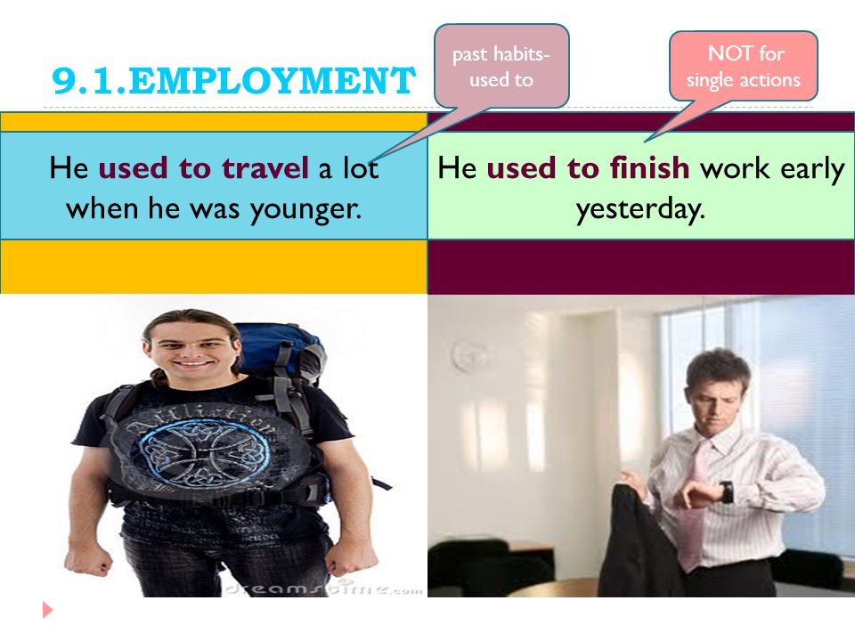 9.1.EMPLOYMENT He used to travel a lot when he was younger.