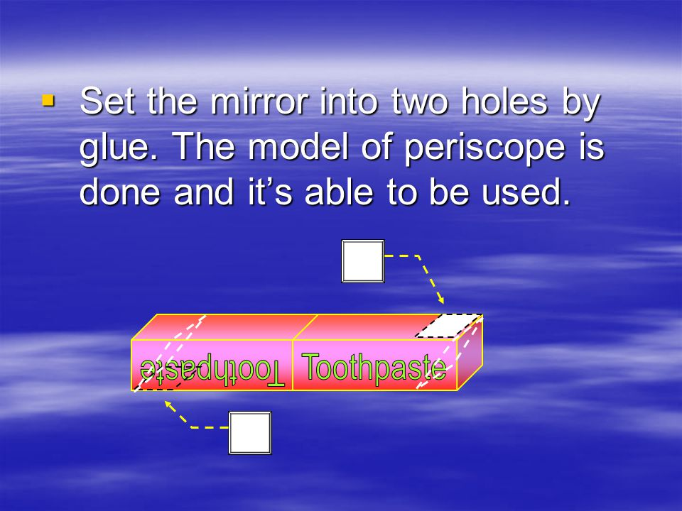 Set the mirror into two holes by glue