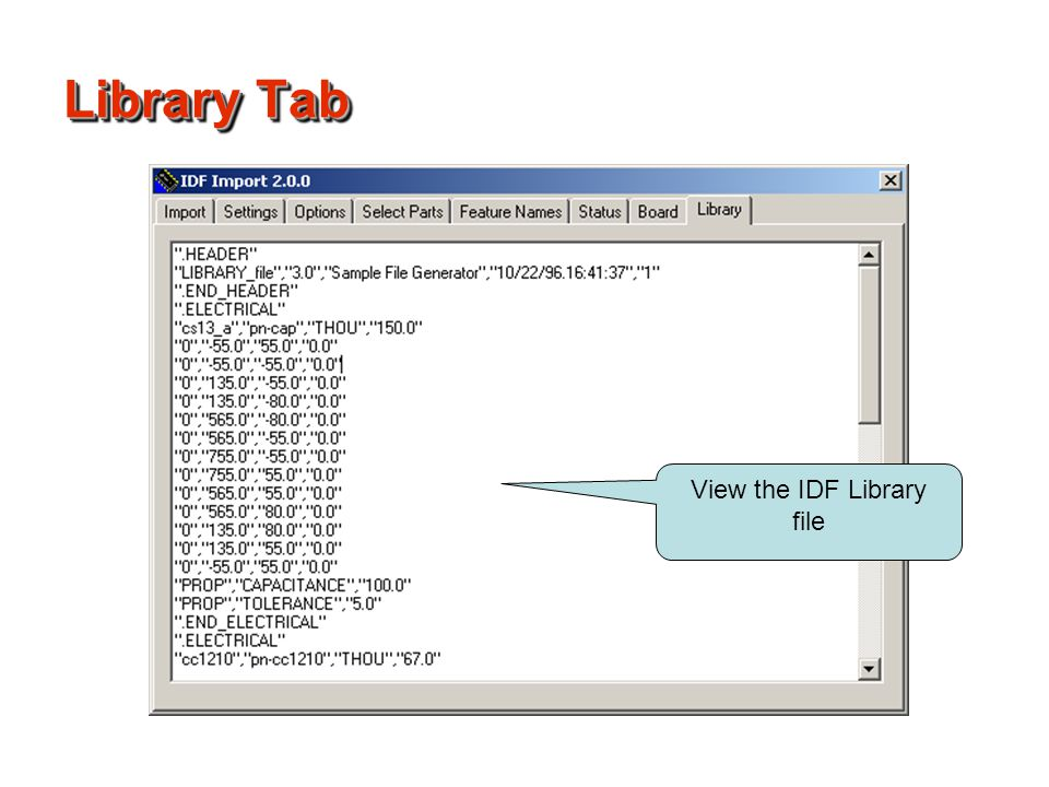 View the IDF Library file