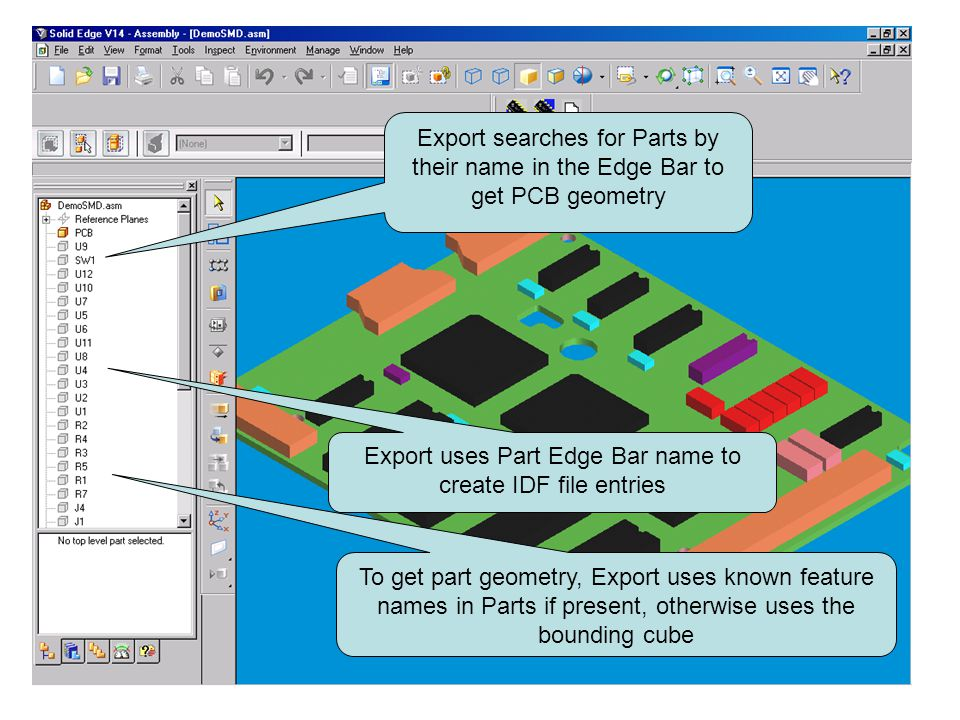 Export uses Part Edge Bar name to create IDF file entries