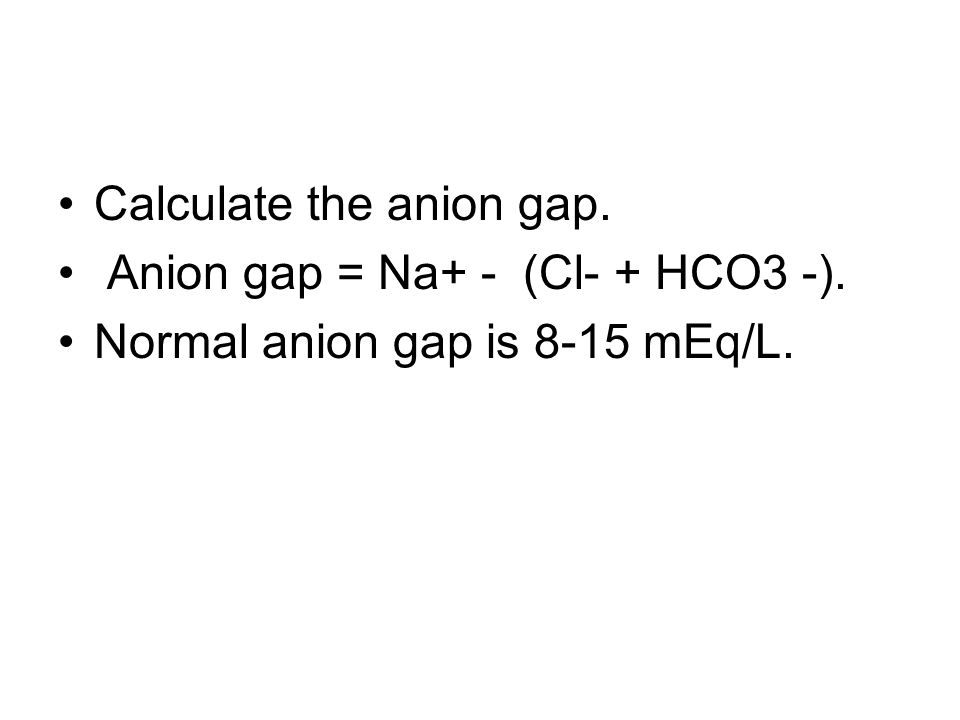 Calculate the anion gap.