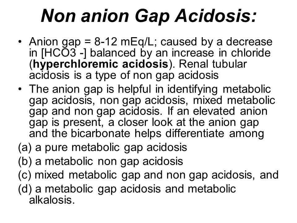 Non anion Gap Acidosis: