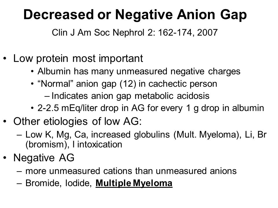 Decreased or Negative Anion Gap Clin J Am Soc Nephrol 2: 162-174, 2007
