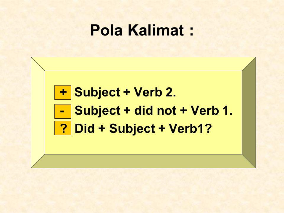 Pola Kalimat : + Subject + Verb 2. - Subject + did not + Verb 1.