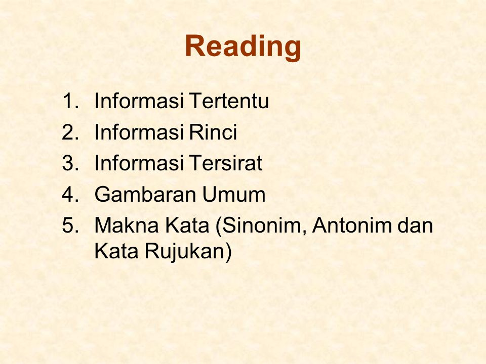 Reading Informasi Tertentu Informasi Rinci Informasi Tersirat