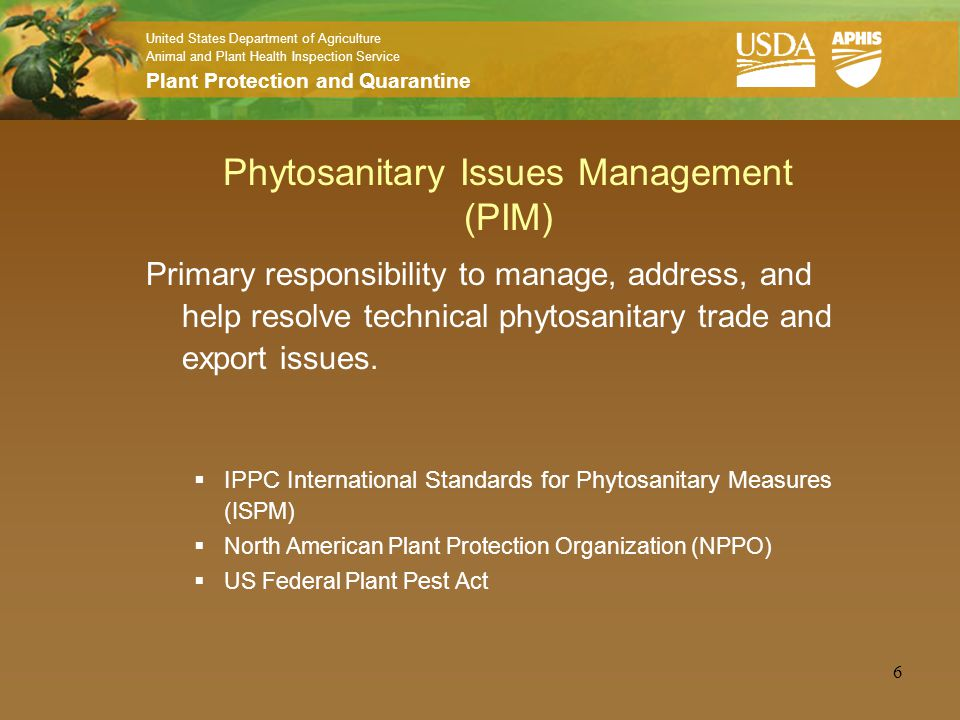 APHIS/PPQ National Plant Protection Organization
