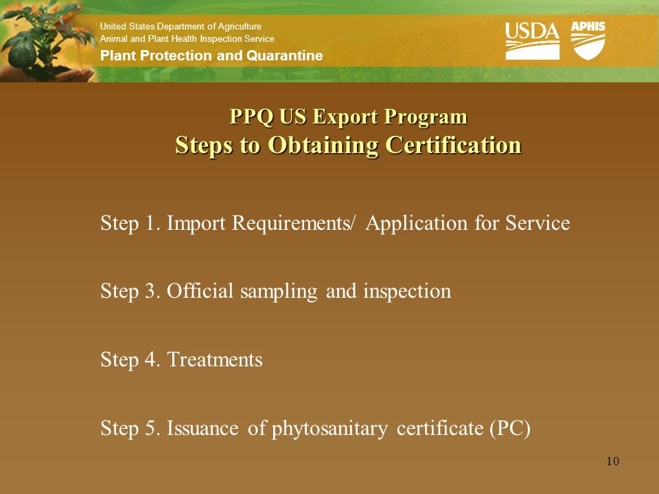 PPQ US Export Program Failure to meet international standards: