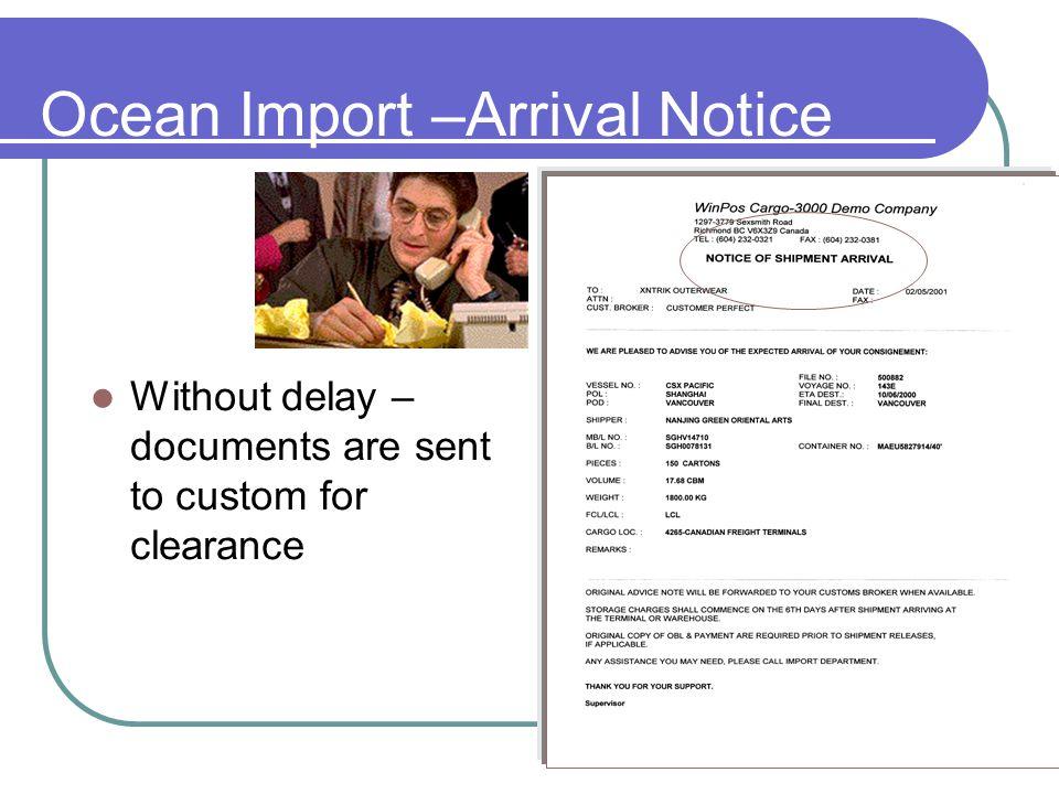 Ocean Import –Arrival Notice
