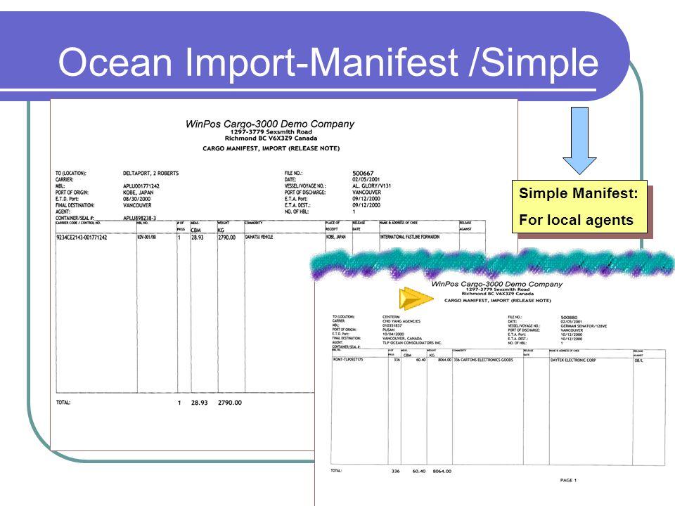 Ocean Import-Manifest /Simple