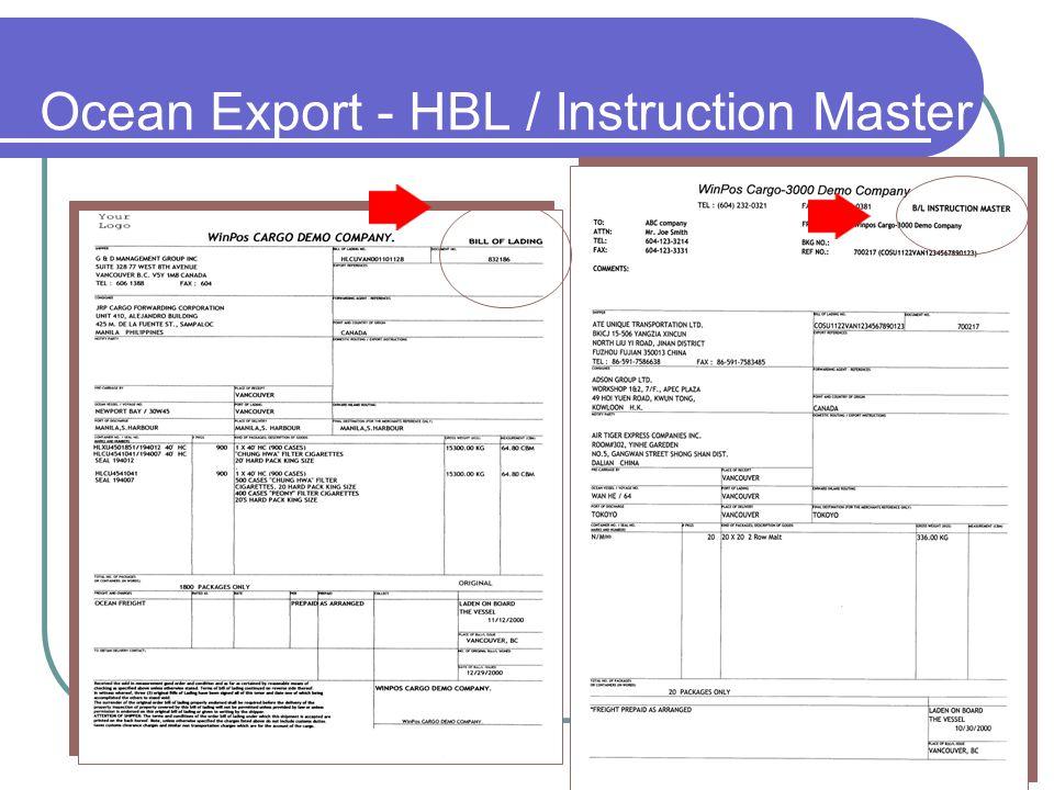 Ocean Export - HBL / Instruction Master