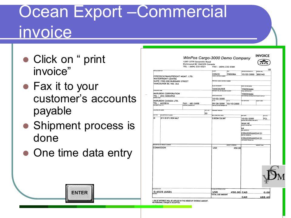 Ocean Export –Commercial invoice