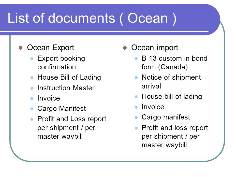 List of documents ( Ocean )