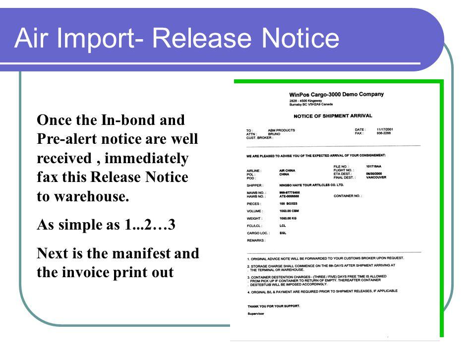 Air Import- Release Notice