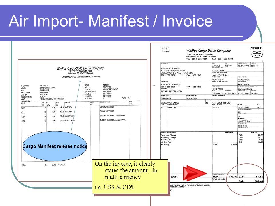 Air Import- Manifest / Invoice