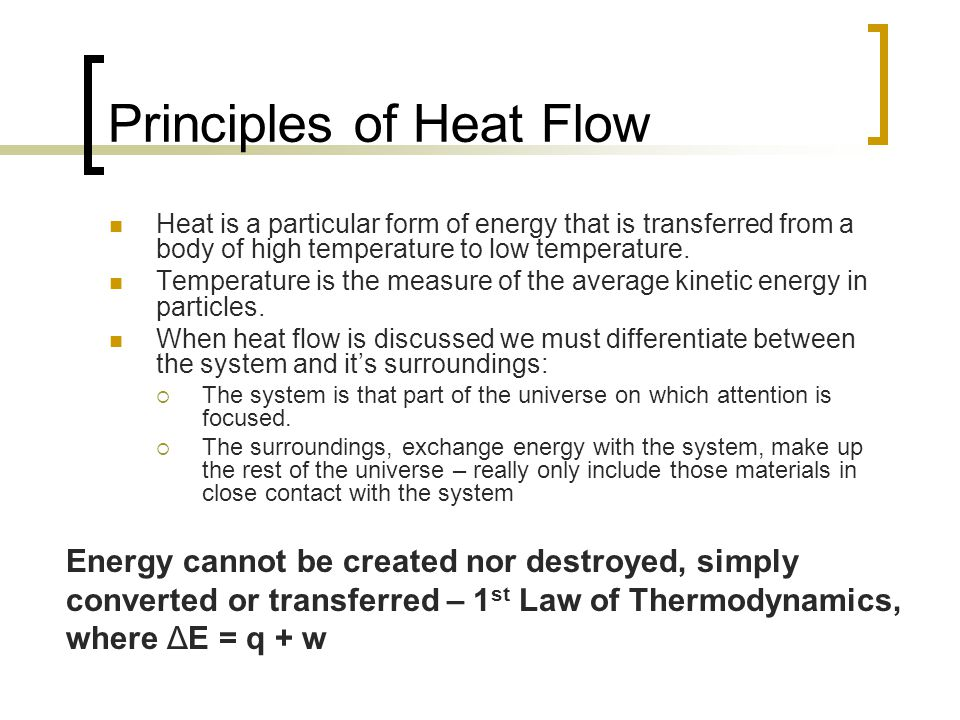 Principles of Heat Flow