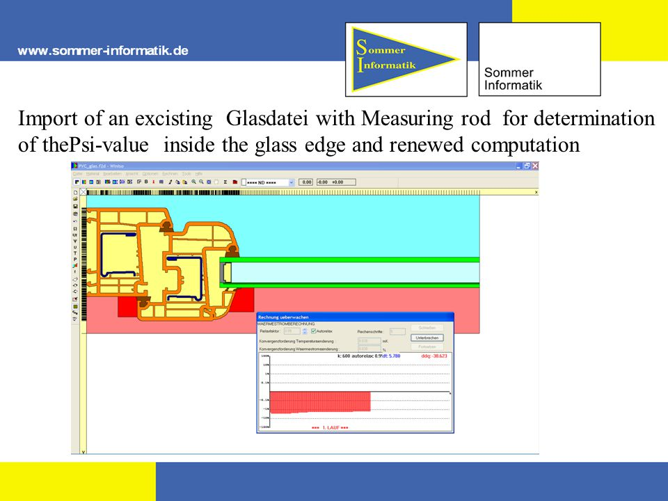 Import of an excisting Glasdatei with Measuring rod for determination