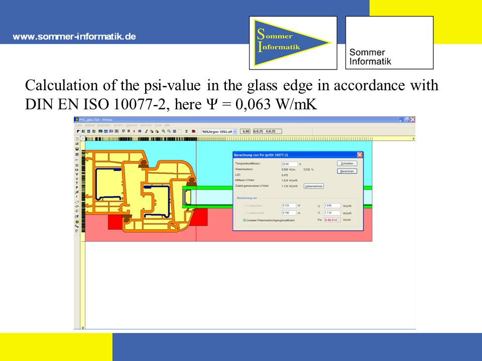 Calculation of the psi-value in the glass edge in accordance with