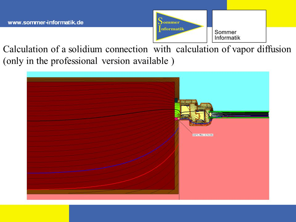 Calculation of a solidium connection with calculation of vapor diffusion