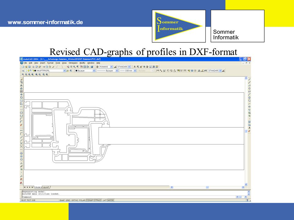 Revised CAD-graphs of profiles in DXF-format