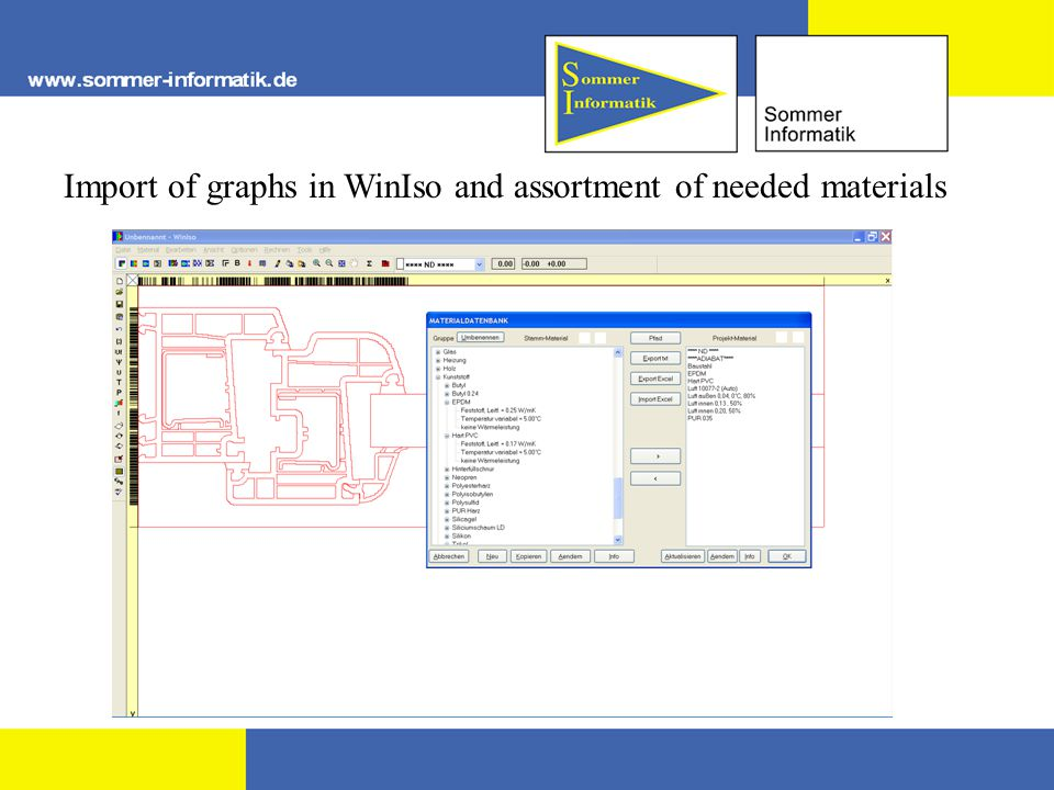 Import of graphs in WinIso and assortment of needed materials