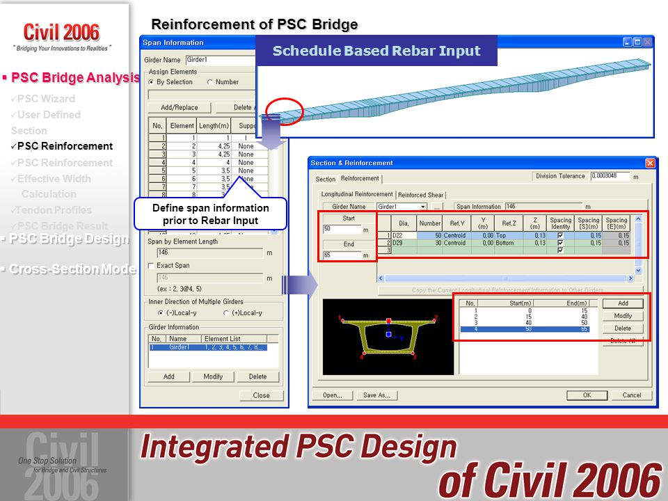 Define span information prior to Rebar Input