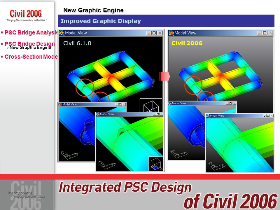 New Graphic Engine Improved Graphic Display Civil 6.1.0 Civil 2006
