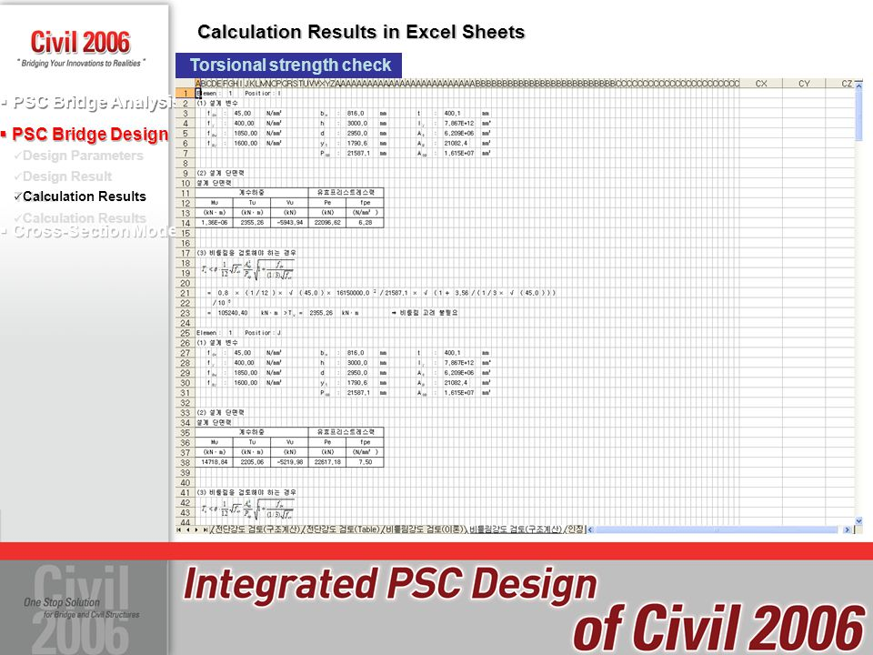 Calculation Results in Excel Sheets