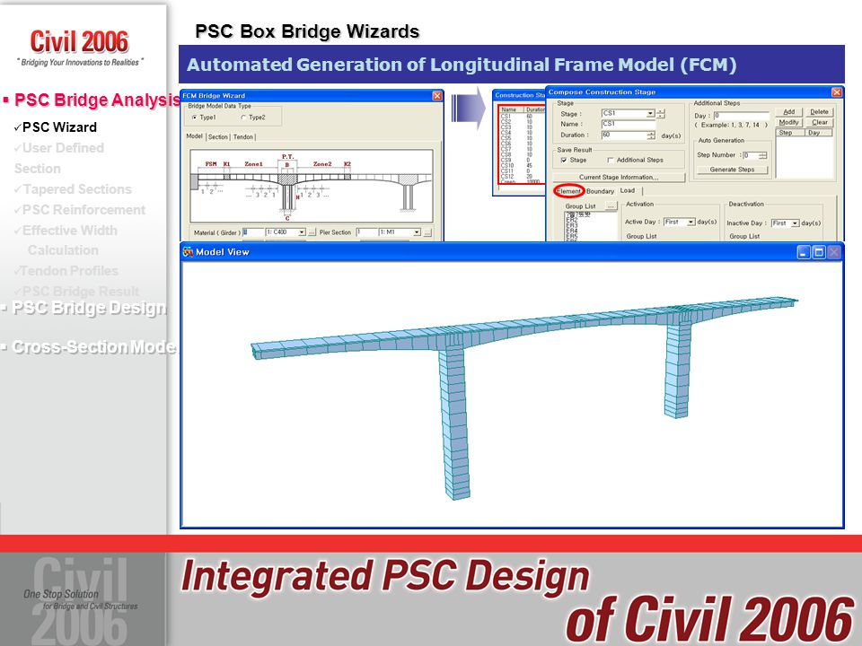 PSC Box Bridge Wizards Automated Generation of Longitudinal Frame Model (FCM) PSC Wizard