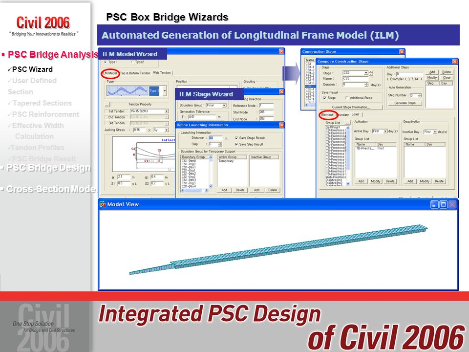 PSC Box Bridge Wizards Automated Generation of Longitudinal Frame Model (ILM) ILM Model Wizard. PSC Wizard.