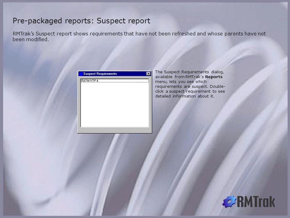 Pre-packaged reports: Suspect report