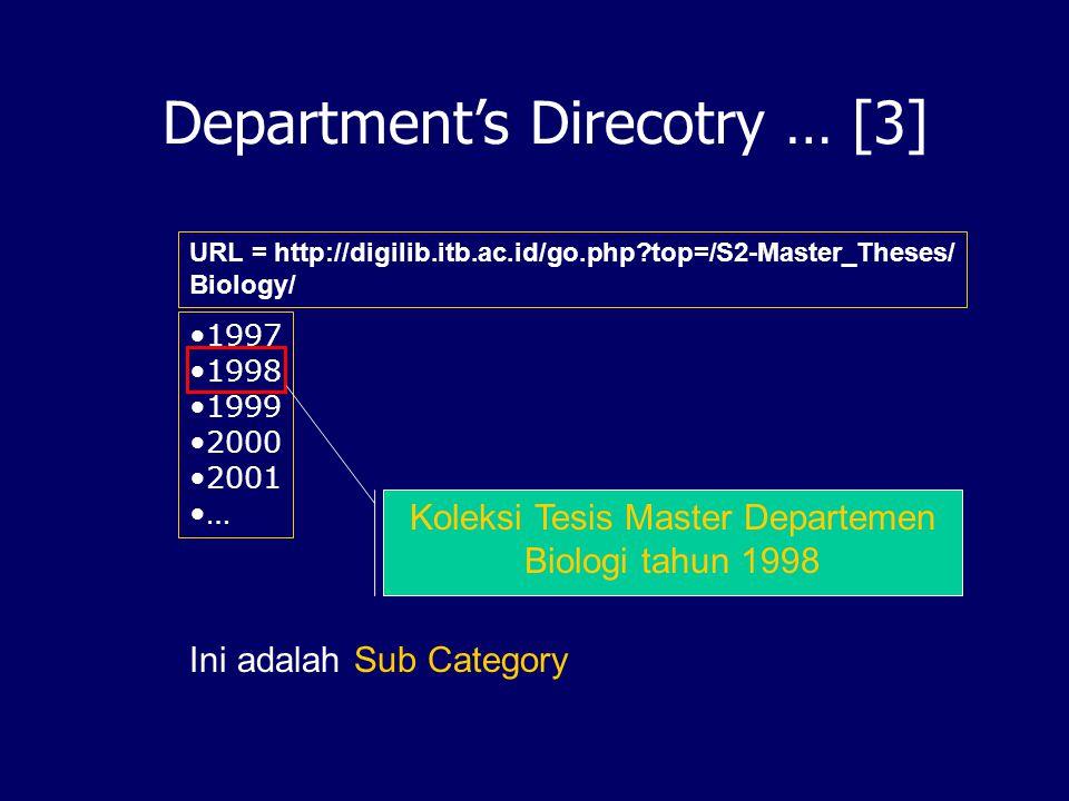 Koleksi Tesis Master Departemen Biologi tahun 1998
