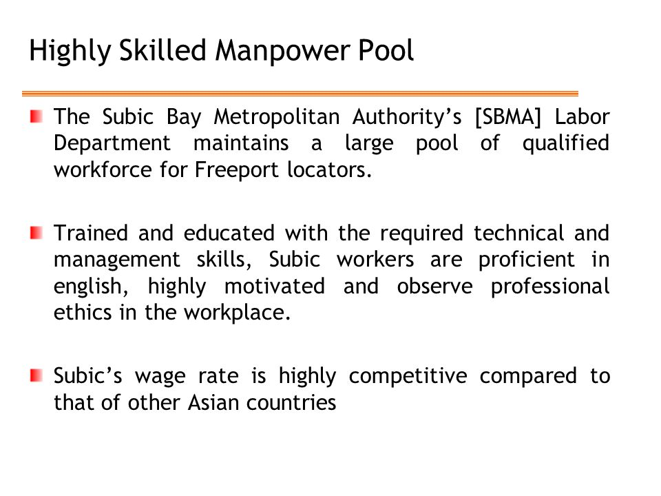 Highly Skilled Manpower Pool