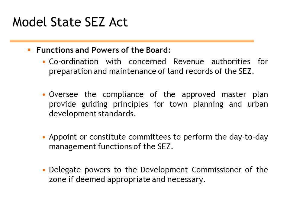 Model State SEZ Act Functions and Powers of the Board: