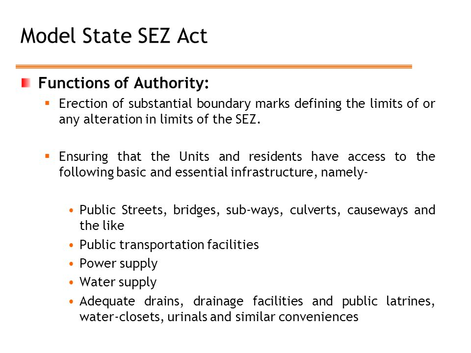 Model State SEZ Act Functions of Authority: