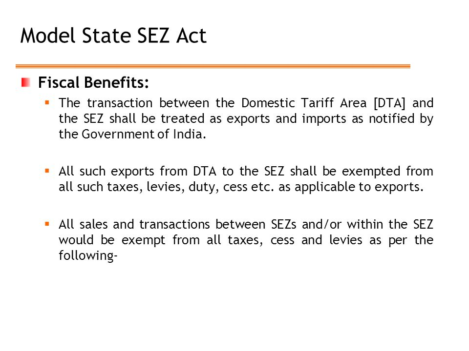 Model State SEZ Act Fiscal Benefits: