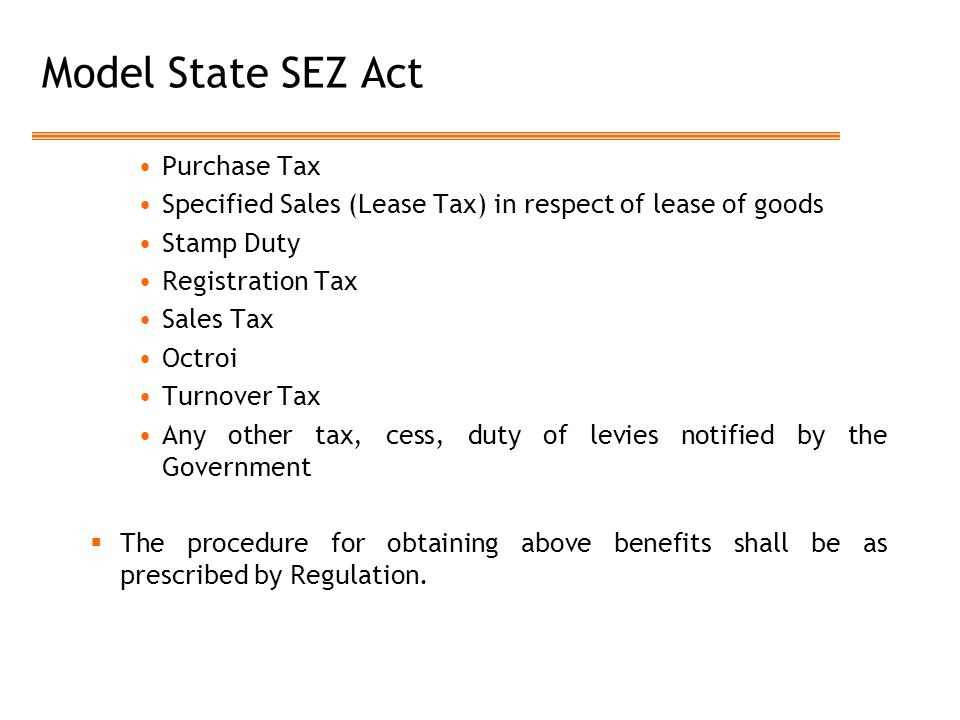 Model State SEZ Act Purchase Tax