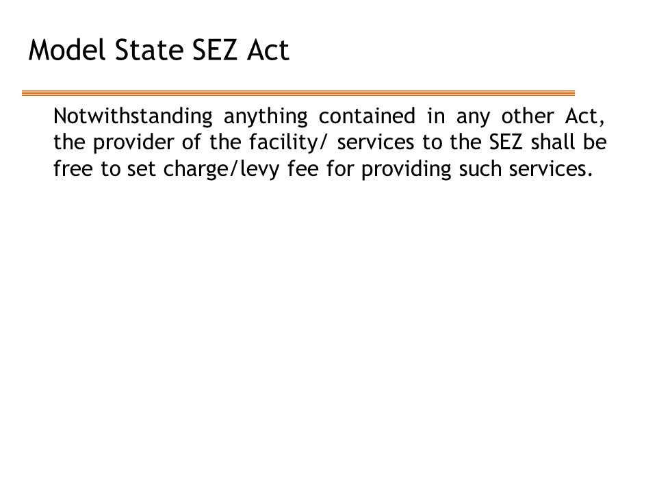 Model State SEZ Act