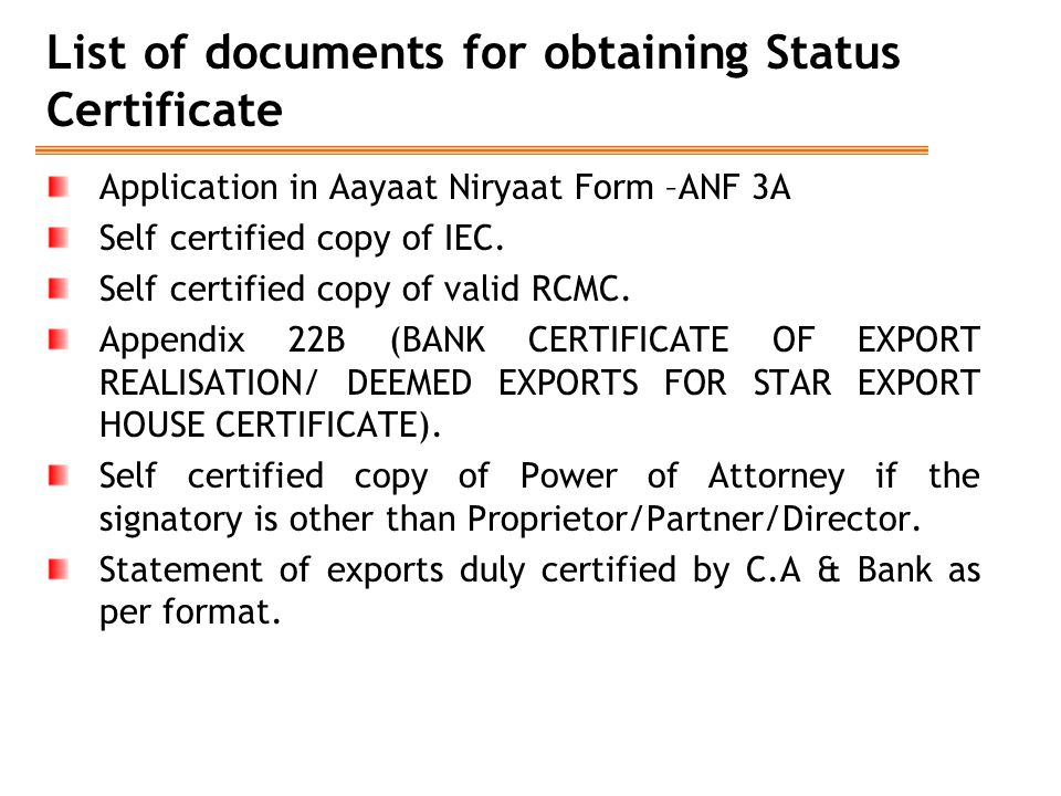 List of documents for obtaining Status Certificate