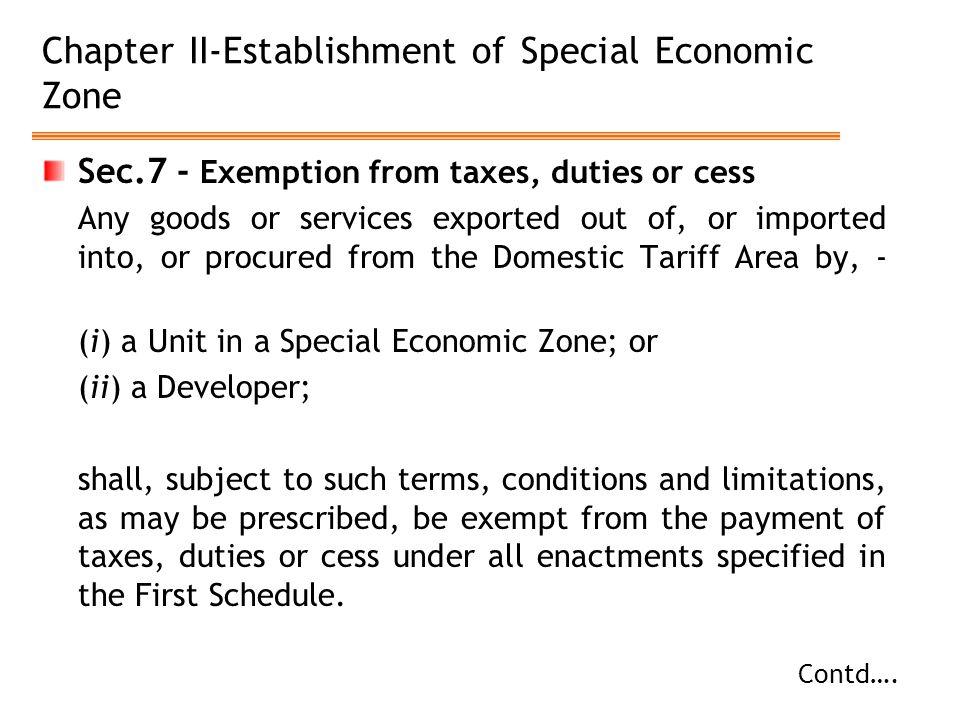 Chapter II-Establishment of Special Economic Zone