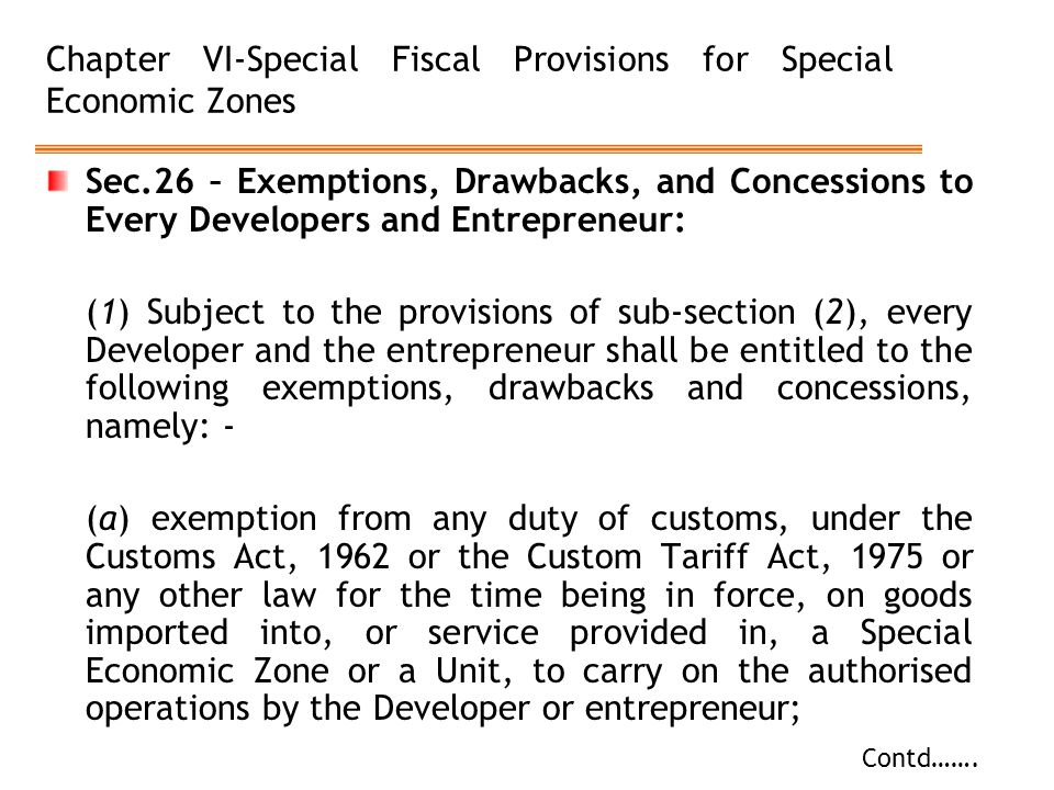 Chapter VI-Special Fiscal Provisions for Special Economic Zones