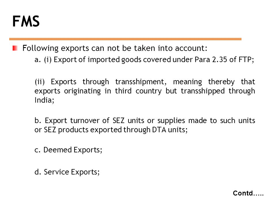 FMS Following exports can not be taken into account:
