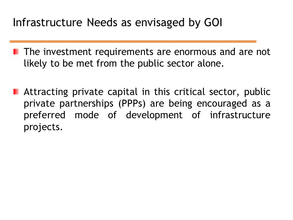 Infrastructure Needs as envisaged by GOI