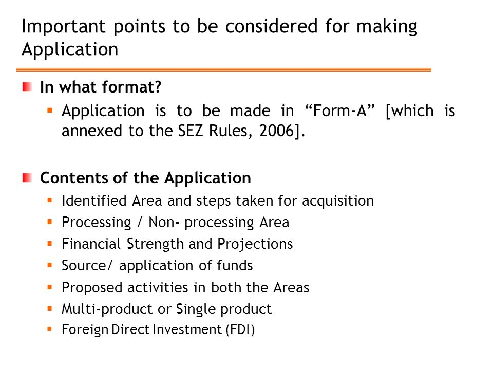 Important points to be considered for making Application