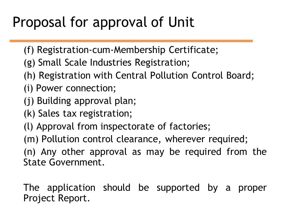 Proposal for approval of Unit