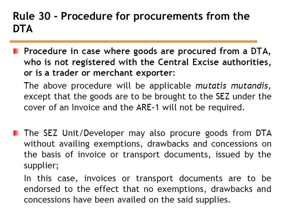 Rule 30 - Procedure for procurements from the DTA