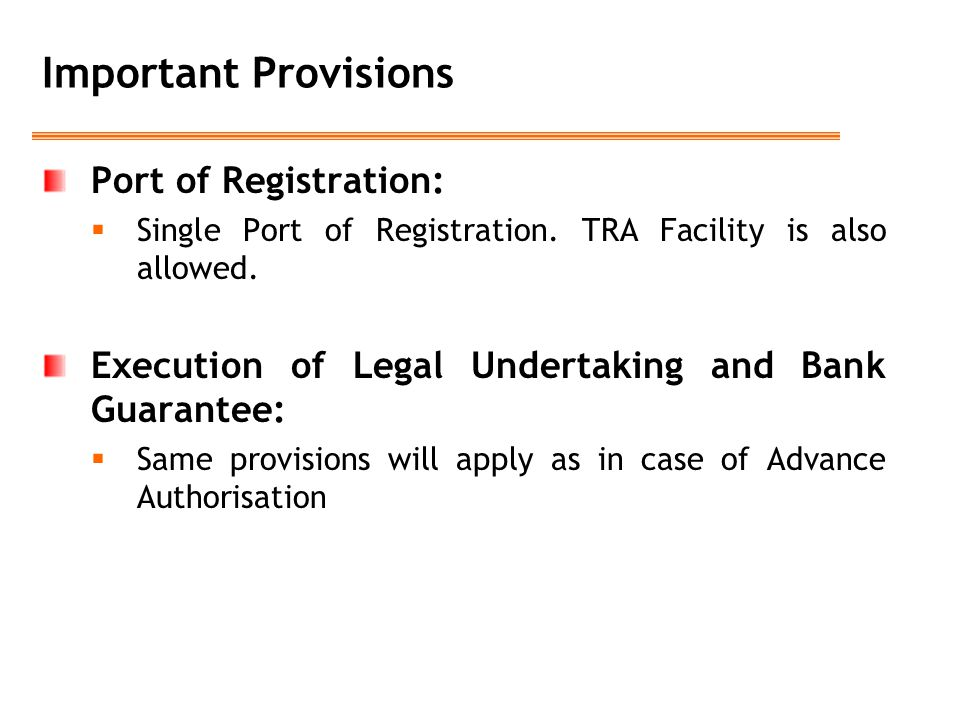 Important Provisions Port of Registration: