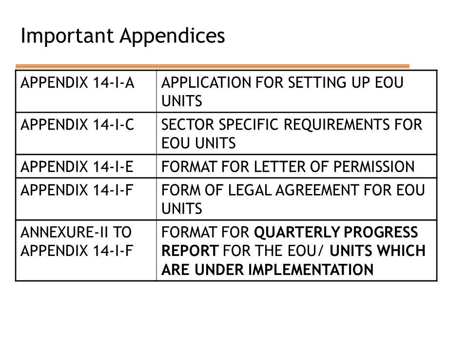 Important Appendices APPENDIX 14-I-A