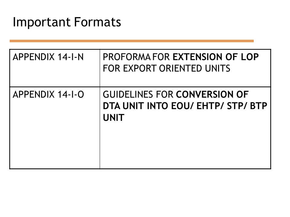 Important Formats APPENDIX 14-I-N
