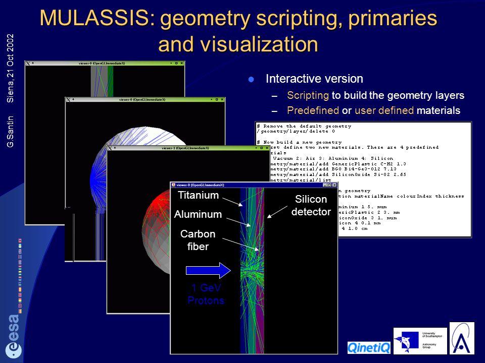 MULASSIS: geometry scripting, primaries and visualization