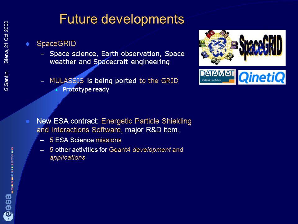Future developments SpaceGRID
